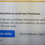 Facebook asking to use 'link clicks' instead of 'conversions' (image link) : PPC